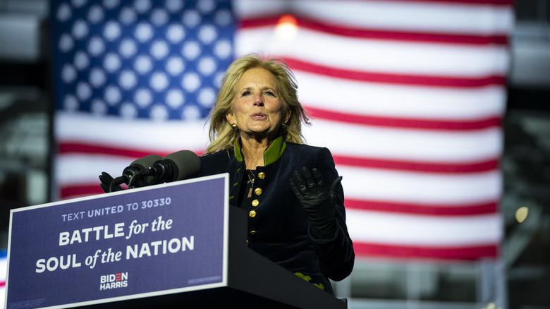 Jill Biden speaking at campaign event