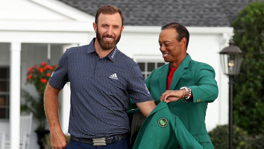 Dustin Johnston and Tiger Woods