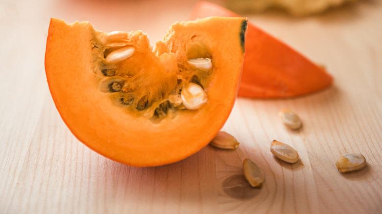 Slice of cut pumpkin