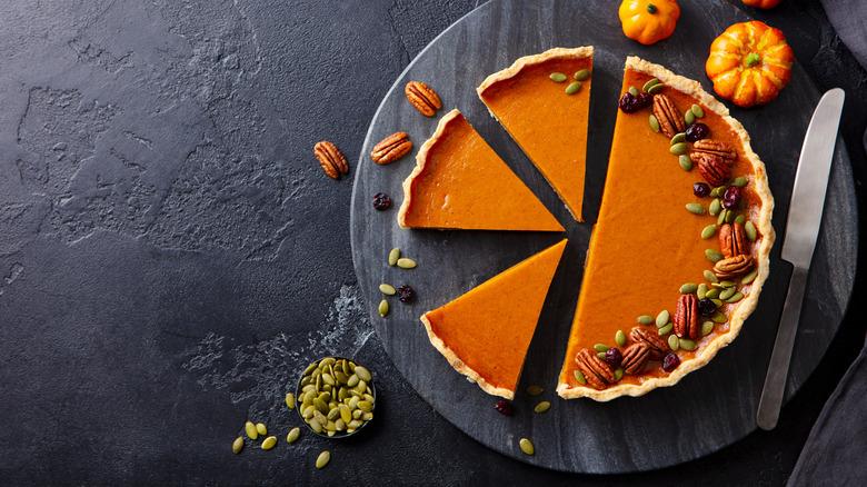 Pumpkin pie cut into slices