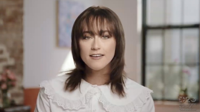 Ella Emhoff in a white shirt