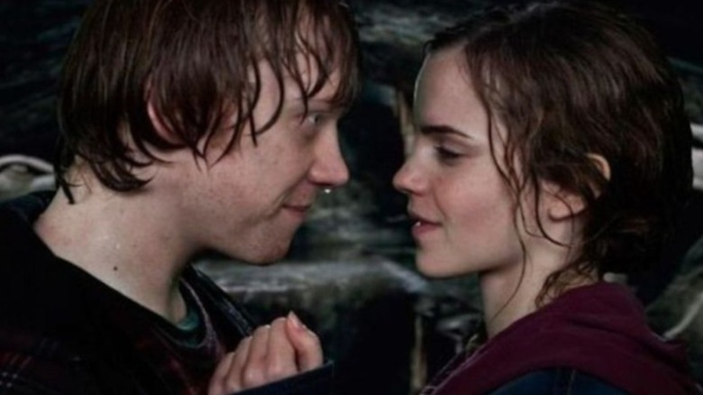 Ron and Hermione about to kiss