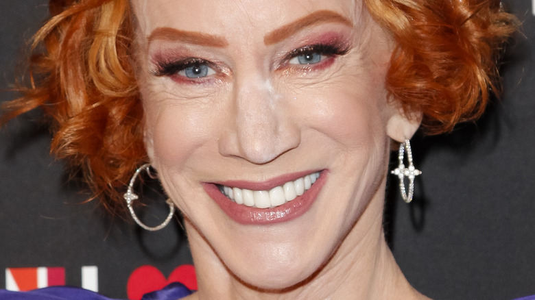 close up of Kathy Griffin wearing purple dress