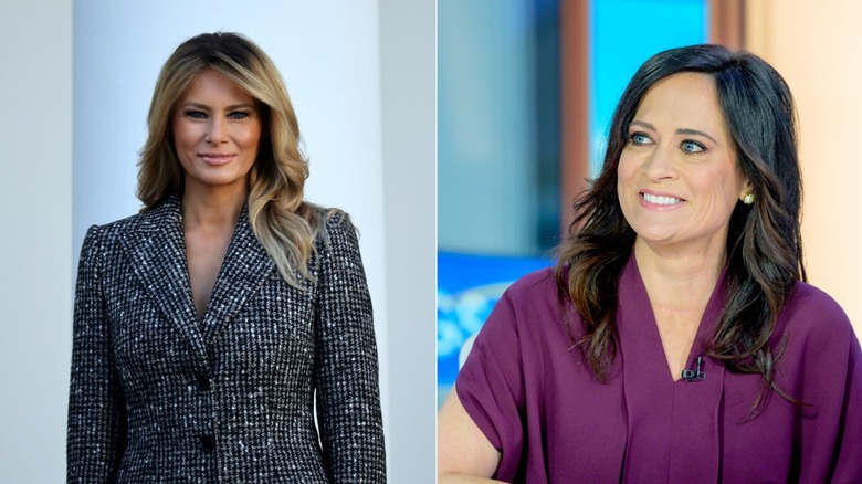 Melania Trump smiling in black and white suit / Stephanie Grisham smiling in purple top