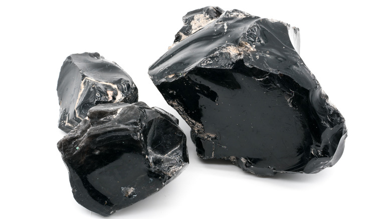 Two obsidian crystals