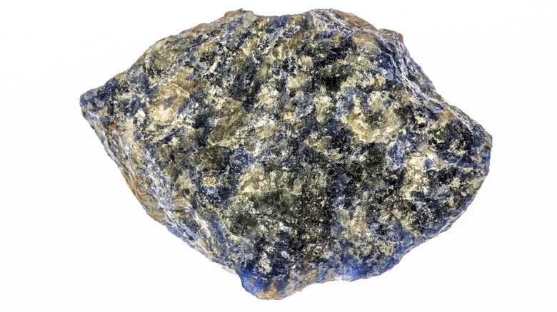 A piece of Sodalite with blue peeking out