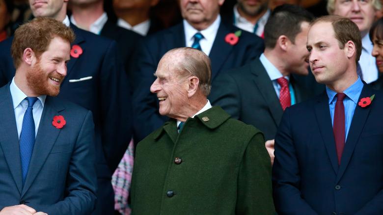 Princes Harry, Philip, and William