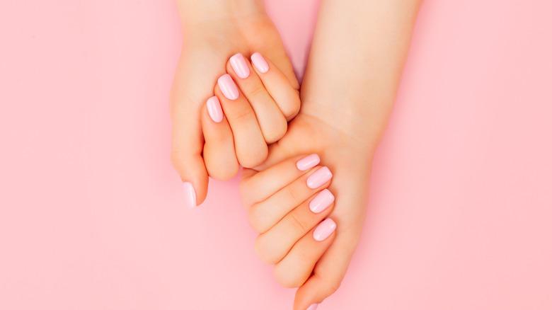 womans hands nails manicure