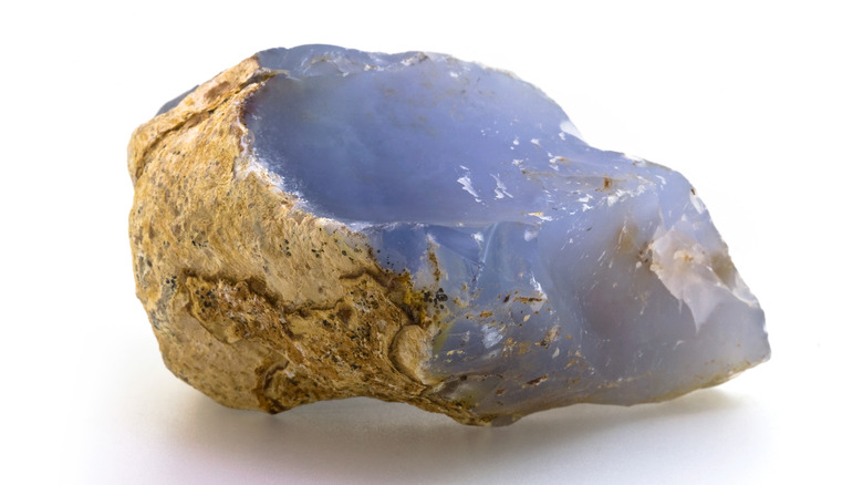 Natural blue chalcedony on a white background