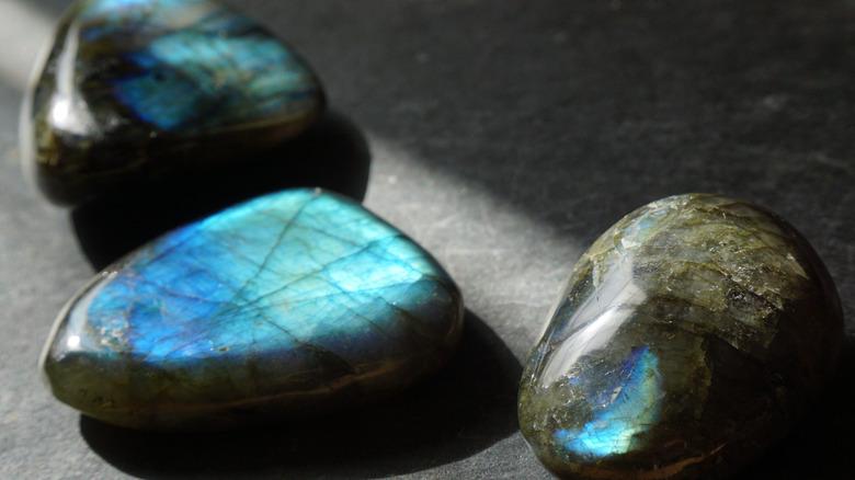 Three labradorite pebbles