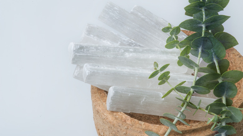 selenite in bowl with herbs