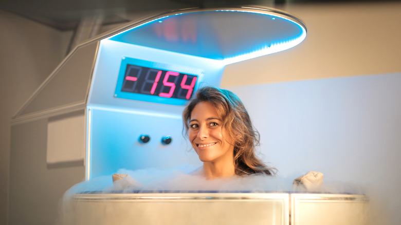 Woman having a cryotherapy session