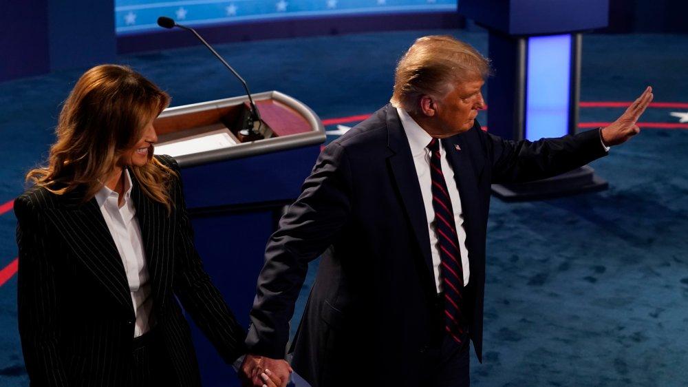 Trump walking off stage at 1st debate
