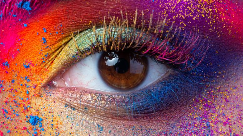 Eye with colorful eyeshadow