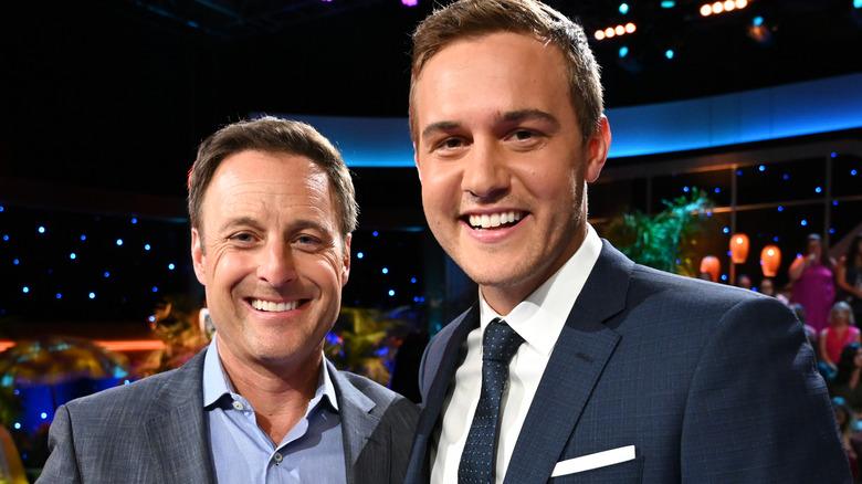 Bachelor franchise stars Chris Harrison and Peter Weber at Bachelorette finale