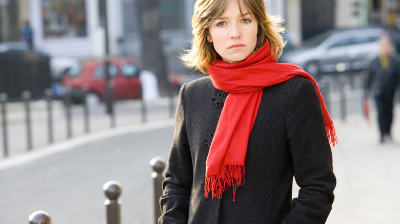 woman with seasonal affective disorder in winter