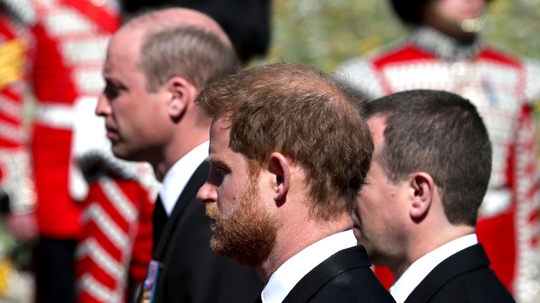 Harry, William at grandfather's funeral
