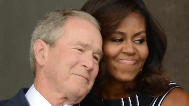 George W. Bush and Michelle Obama