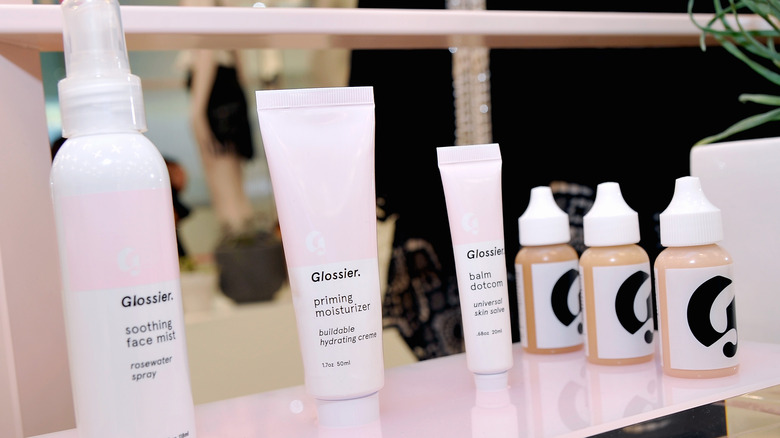 Glossier products at pop-up shop