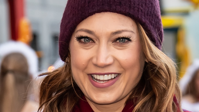 Ginger Zee wears hat and plaid coat