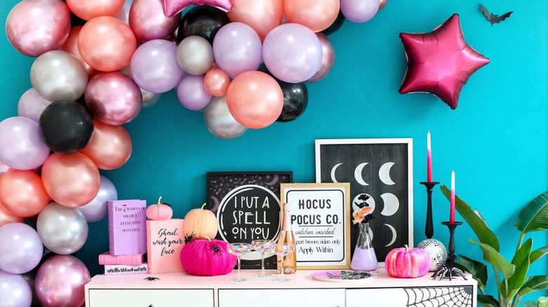 kailochic's pink, purple, and black witch halloween decor