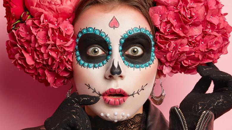 Woman in ornate Halloween costume
