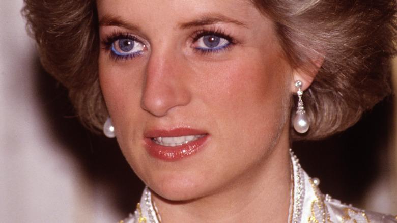 Princess Diana with pearl earrings
