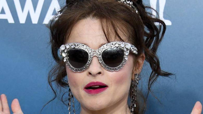 Helena Bonham Carter wearing silver glasses