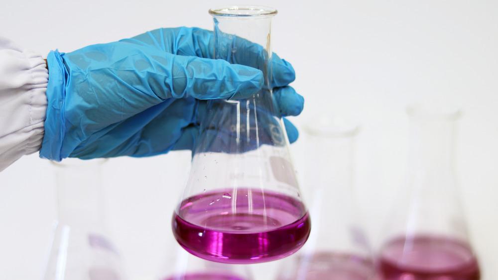 blue gloved hand holding vial of purple boric acid