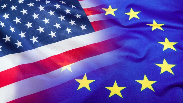 Merged flags of the USA and EU