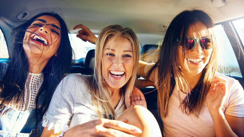 Outgoing girls enjoying being social