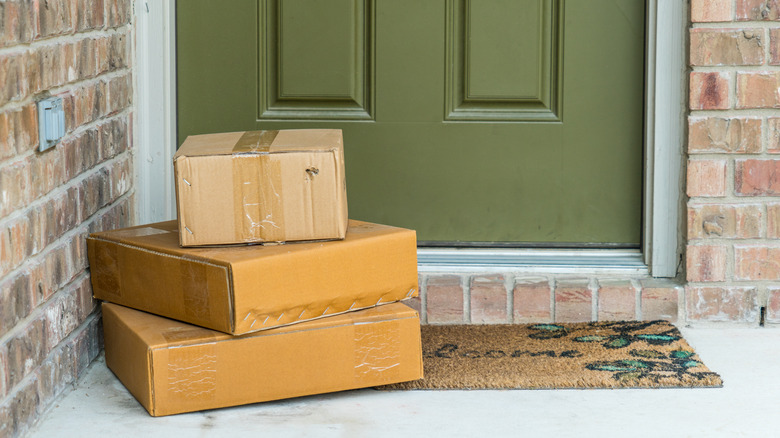 Packages delivered by the door