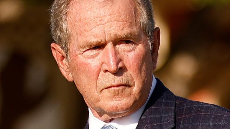 George W. Bush outside