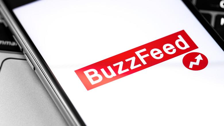 BuzzfFeed logo on phone screen