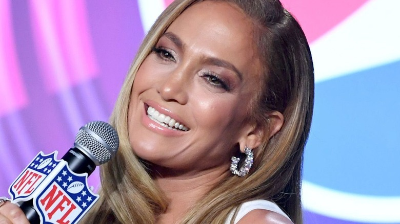 Jennifer Lopez at a Super Bowl press conference