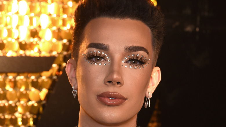James Charles rhinestone makeup