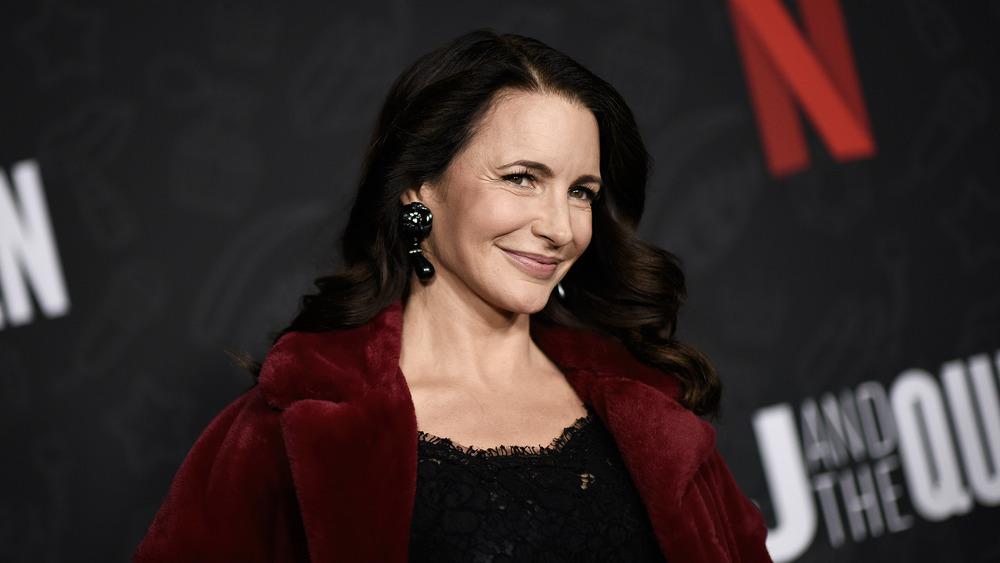 Kristin Davis in a red coat