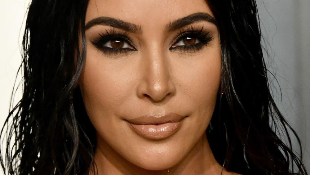 Kim Kardashian posing on the red carpet