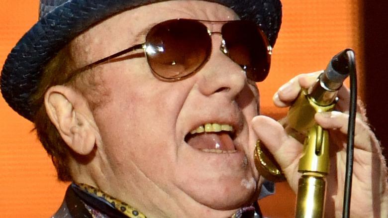 Closeup of Van Morrison singing