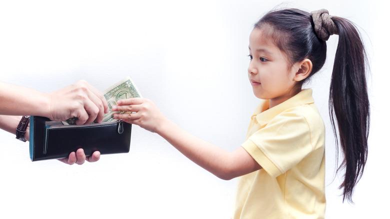 Girl getting allowance