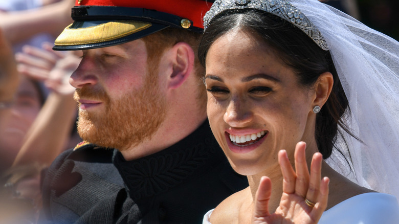 Prince Harry and Meghan Markle leaving their wedding
