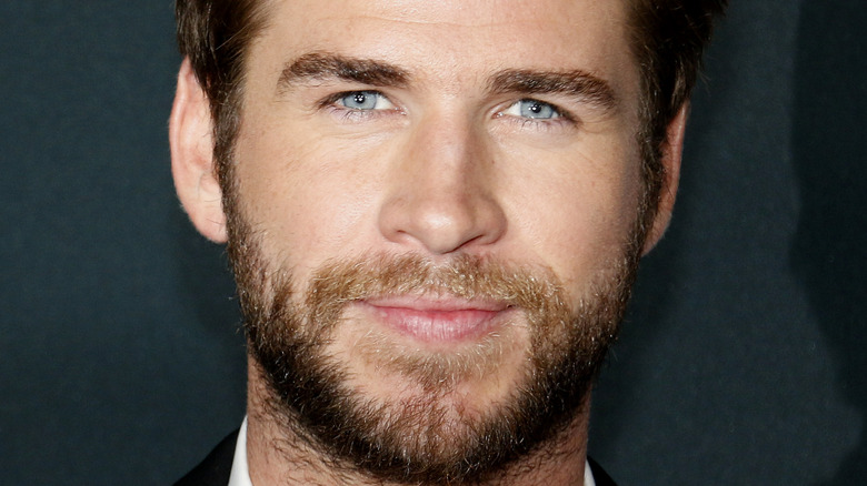 Liam Hemsworth smiling at an event