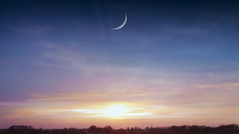 The moon at sunset.