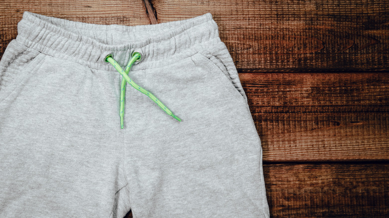 sweatpants on a wooden background