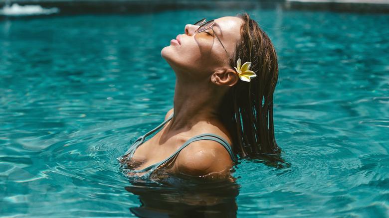 Woman in chlorine pool