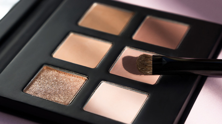 Colorful eyeshadow palette with brush.
