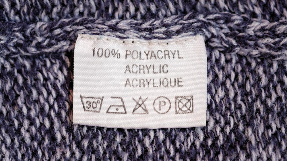 Clothing label on a sweater