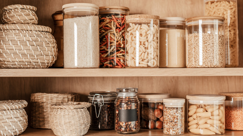 Pantry foods in glass containers