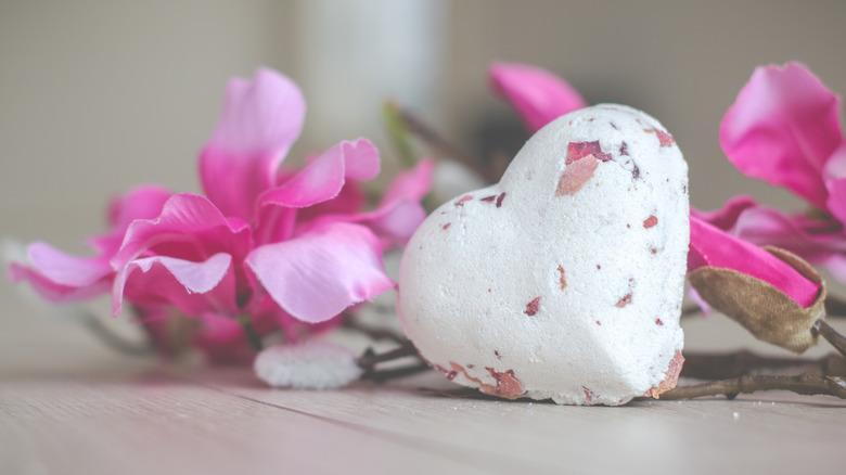 Heart shaped bath bomb