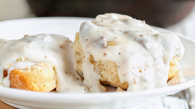 A plate of biscuits and gravy